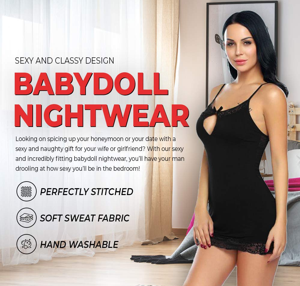 Billebon Women Babydoll Nightwear Lingerie with Panty
