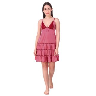 Nightwear Women Short Length Satin Nightdress