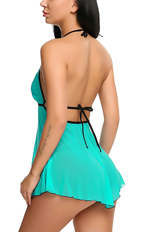 Women Babydoll Nightwear Lingerie with Open Front